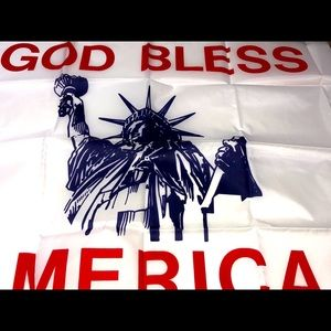 GOD BLESS AMERICA FLAG WITH LADY LIBERTY